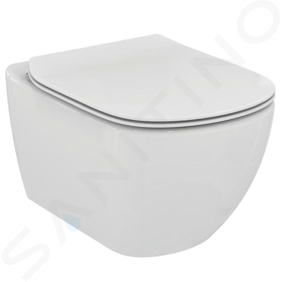 Ideal Standard ProSys - Ensemble pour WC suspendu, cuvette et abattant Tesi, Plaque de déclenchement Oleas M2, chrome mat ProSys120M SP14