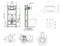Ideal Standard ProSys - Set con modulo di installazione, vaso e copriwater Connect Air, placca di comando Oleas M2, Aquablade, SoftClose, cromo ProSys120M SP21