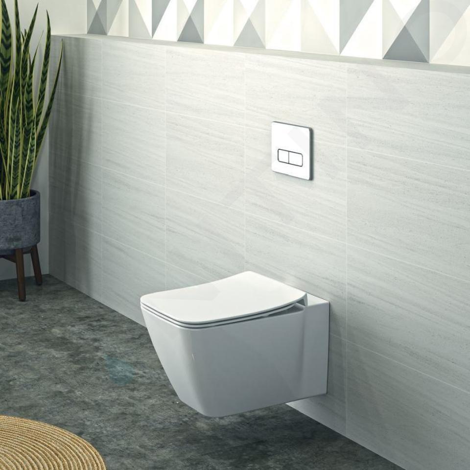 Ideal Standard ProSys - Set con modulo di installazione, vaso e copriwater Strada II, placca di comando Oleas M2, Aquablade, SoftClose, bianco ProSys120M SP25