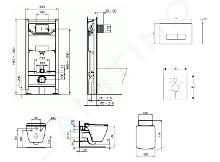 Ideal Standard ProSys - Toiletset- inbouwreservoir, closet, WC-zitting Strada II, Oleas M2 bedieningsplaat, Aquablade, SoftClose, mat chroom ProSys120M SP26
