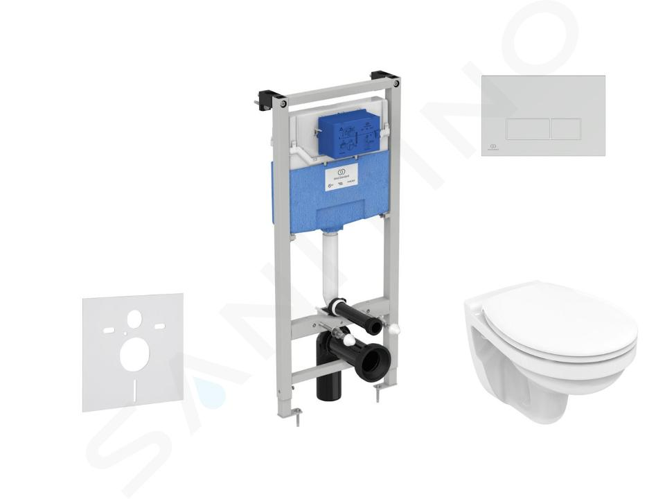 Ideal Standard ProSys - Set - Vorwandelement, Klosett und WC-Sitz Dolomite Quarzo, Betätigungsplatte Oleas M2, SoftClose, chrom matt ProSys120M SP38
