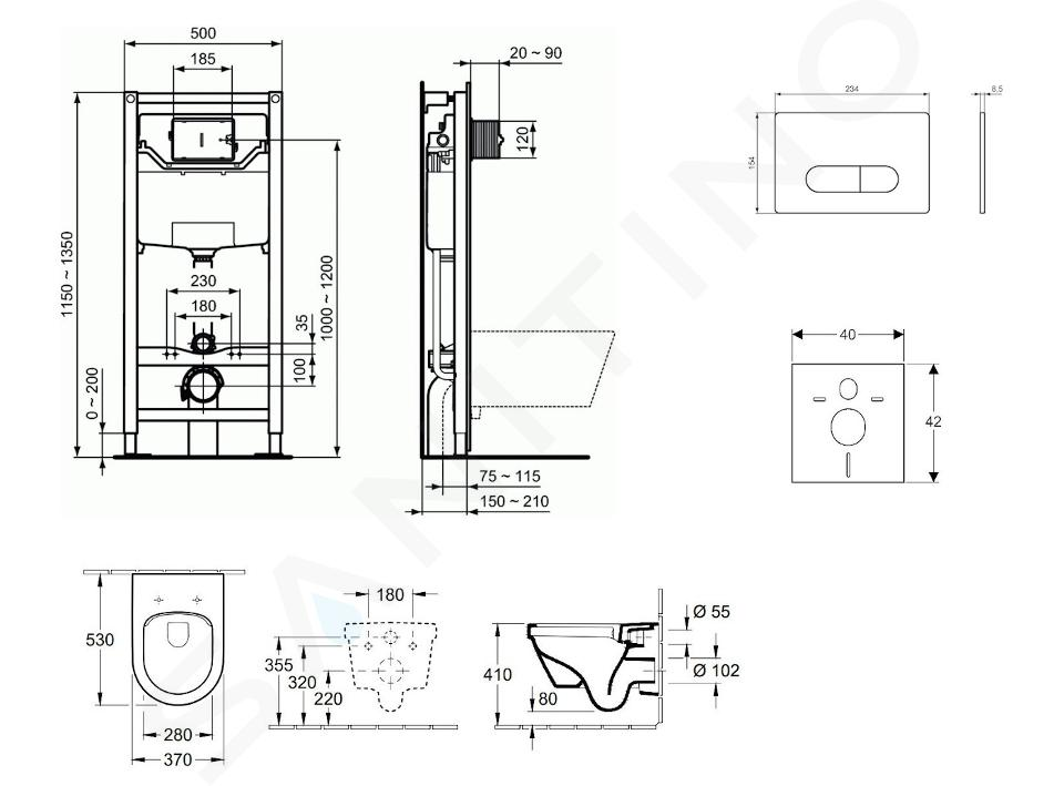 Ideal Standard ProSys - Set - Vorwandelement, Klosett und WC-Sitz Architectura, Betätigungsplatte Oleas M1, DirectFlush, SoftClose, CeramicPlus, chrom ProSys120M SP48