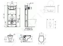 Ideal Standard ProSys - Set - Vorwandelement, Klosett und WC-Sitz Eurovit, Betätigungsplatte Oleas M2, Rimless, SoftClose, weiß ProSys120M SP49