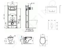 Ideal Standard ProSys - Set con modulo di installazione, vaso e copriwater Eurovit, placca di comando Oleas M2, Rimless, SoftClose, cromo ProSys120M SP51