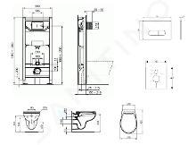 Ideal Standard ProSys - Set con modulo di installazione, vaso e copriwater Eurovit, placca di comando Oleas M1, Rimless, SoftClose, cromo ProSys120M SP54