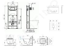 Ideal Standard ProSys - Set con modulo di installazione, WC con funzione bidet e copriwater TECEone, placca di comando Oleas M1, Rimless, SoftClose, cromo opaco ProSys120M SP59
