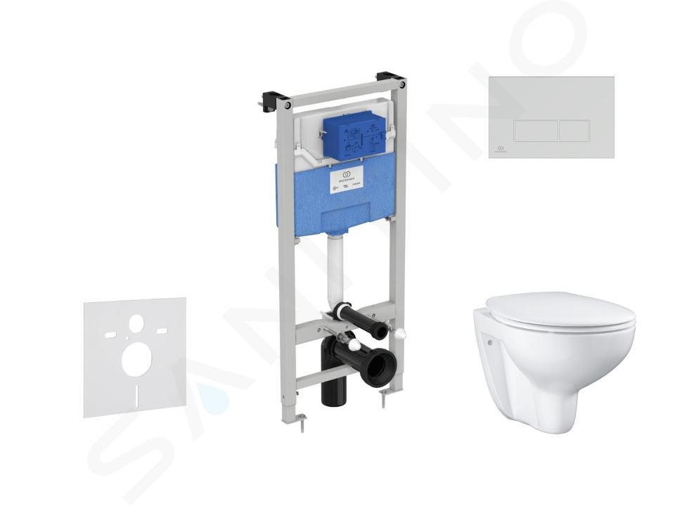 Ideal Standard ProSys - Ensemble pour WC suspendu, cuvette et abattant Bau Ceramic, Plaque de déclenchement Oleas M2, Rimless, SoftClose, blanc ProSys120M SP61