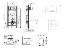 Ideal Standard ProSys - Set - Vorwandelement, Klosett und WC-Sitz Bau Ceramic, Betätigungsplatte Oleas M2, Rimless, SoftClose, weiß ProSys120M SP61