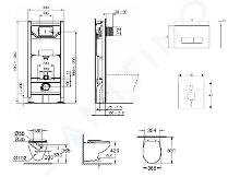 Ideal Standard ProSys - Toiletset- inbouwreservoir, closet, WC-zitting Bau Ceramic, Oleas M2 bedieningsplaat, Rimless, SoftClose, mat chroom ProSys120M SP62