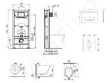 Ideal Standard ProSys - Set con modulo di installazione, vaso e copriwater Mio, placca di comando Oleas M1, Rimless, Slowclose, Antibak, cromo opaco ProSys120M SP71