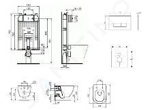 Ideal Standard ProSys - Set con modulo di installazione, vaso e copriwater Tesi, placca di comando Oleas M2, Aquablade, SoftClose, cromo opaco ProSys80M SP74