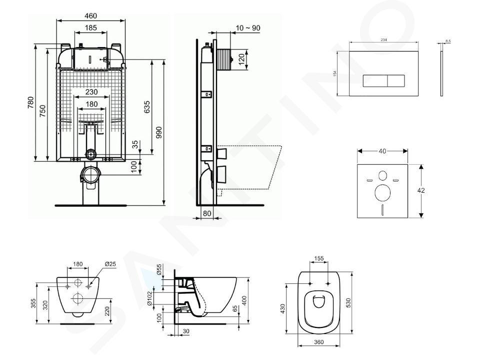 Ideal Standard ProSys - Set - Vorwandelement, Klosett und WC-Sitz Tesi, Betätigungsplatte Oleas M2, Aquablade, SoftClose, chrom ProSys80M SP75