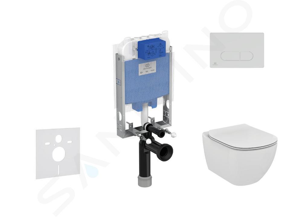Ideal Standard ProSys - Set - Vorwandelement, Klosett und WC-Sitz Tesi, Betätigungsplatte Oleas M1, Aquablade, SoftClose, weiß ProSys80M SP76