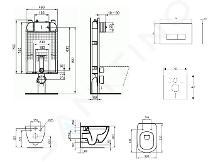 Ideal Standard ProSys - Set con modulo di installazione, vaso e copriwater Tesi, placca di comando Oleas M2, Rimless, SoftClose, cromo ProSys80M SP81