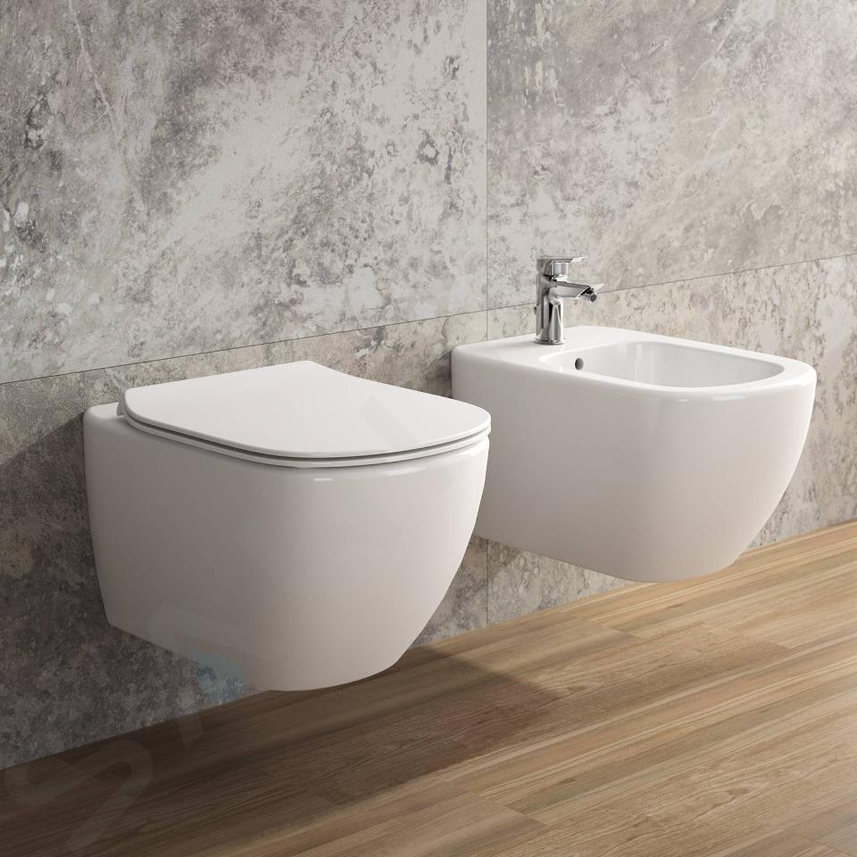 Ideal Standard ProSys - Toiletset- inbouwreservoir, closet, WC-zitting Tesi, Oleas M1 bedieningsplaat, Rimless, Softclose, chroom ProSys80M SP84