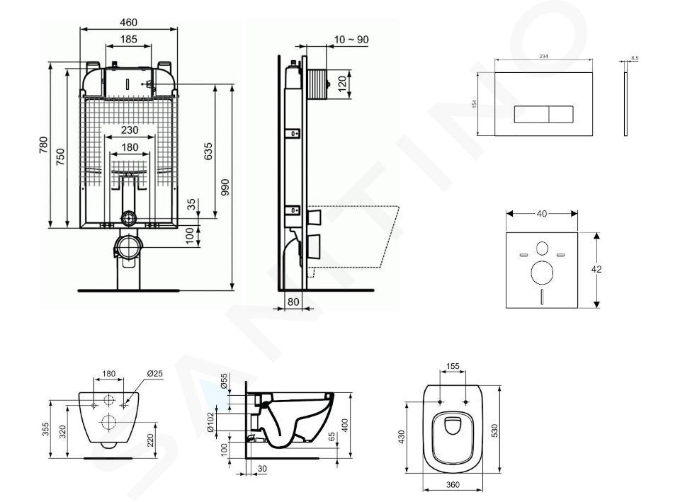 Ideal Standard ProSys - Set - Vorwandelement, Klosett und WC-Sitz Tesi, Betätigungsplatte Oleas M2, weiß ProSys80M SP85