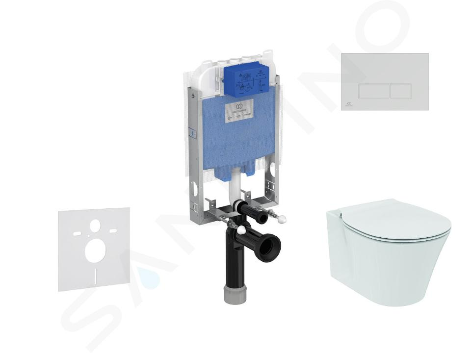 Ideal Standard ProSys - Set - Vorwandelement, Klosett und WC-Sitz Connect Air, Betätigungsplatte Oleas M2, Aquablade, SoftClose, chrom matt ProSys80M SP92
