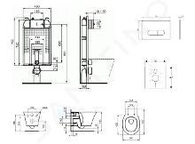 Ideal Standard ProSys - Set con modulo di installazione, vaso e copriwater Connect Air, placca di comando Oleas M1, Aquablade, SoftClose, cromo opaco ProSys80M SP95