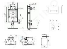 Ideal Standard ProSys - Set con modulo di installazione, vaso e copriwater Strada II, placca di comando Oleas M2, Aquablade, SoftClose, bianco ProSys80M SP97