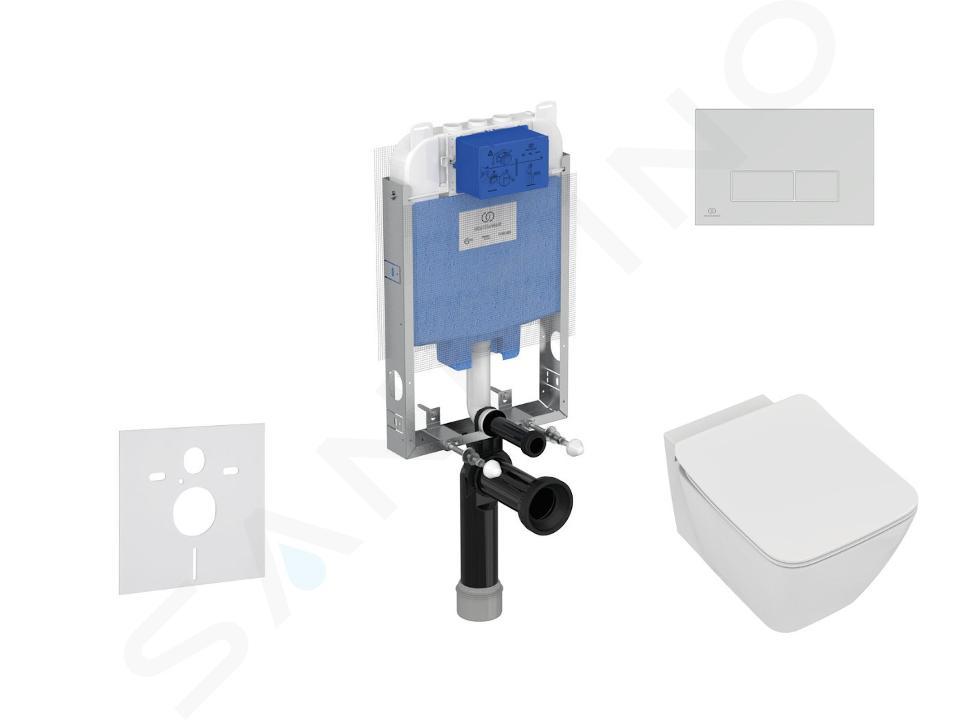 Ideal Standard ProSys - Set con modulo di installazione, vaso e copriwater Strada II, placca di comando Oleas M2, Aquablade, SoftClose, cromo opaco ProSys80M SP98