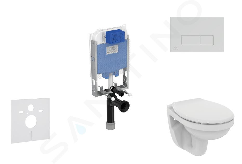 Ideal Standard ProSys - Toiletset- inbouwreservoir, closet, WC-zitting Dolomite Quarzo, Oleas M2 bedieningsplaat, mat chroom ProSys80M SP104