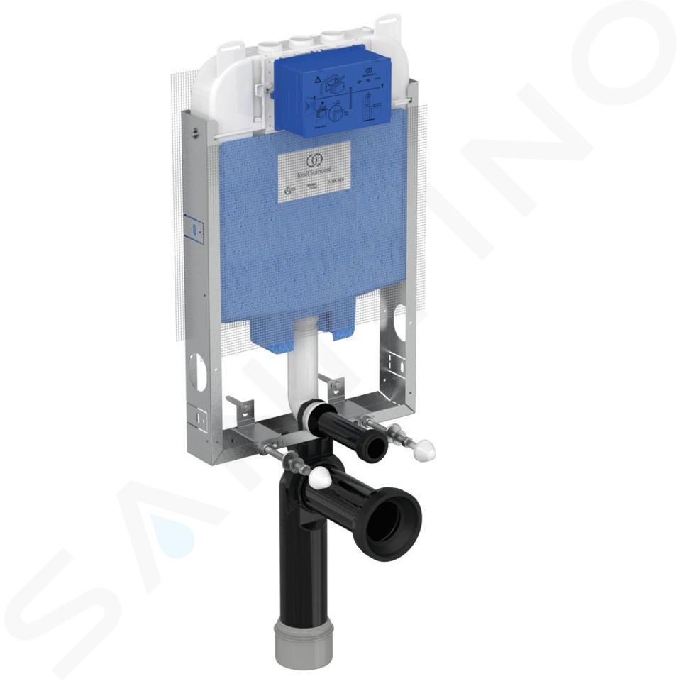 Ideal Standard ProSys - Set - Vorwandelement, Klosett und WC-Sitz Dolomite Quarzo, Betätigungsplatte Oleas M1, weiß ProSys80M SP106