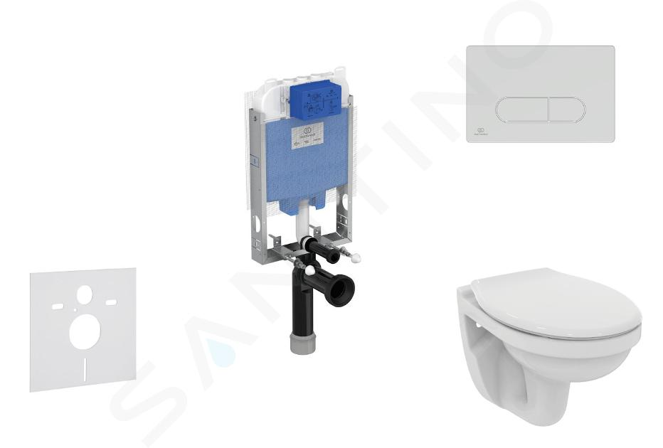 Ideal Standard ProSys - Toiletset- inbouwreservoir, closet, WC-zitting Dolomite Quarzo, Oleas M1 bedieningsplaat, mat chroom ProSys80M SP107