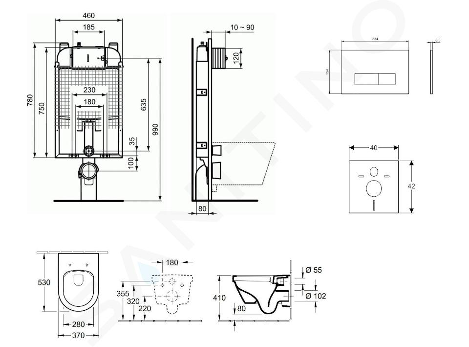 Ideal Standard ProSys - Toiletset- inbouwreservoir, closet, WC-zitting Architectura, Oleas M2 bedieningsplaat, DirectFlush, SoftClose, CeramicPlus, wit ProSys80M SP115