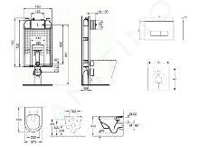 Ideal Standard ProSys - Set - Vorwandelement, Klosett und WC-Sitz Architectura, Betätigungsplatte Oleas M2, DirectFlush, SoftClose, CeramicPlus, chrom matt ProSys80M SP116