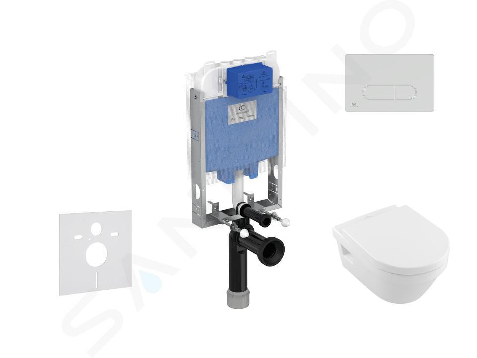 Ideal Standard ProSys - Set - Vorwandelement, Klosett und WC-Sitz Architectura, Betätigungsplatte Oleas M1, DirectFlush, SoftClose, CeramicPlus, weiß ProSys80M SP118