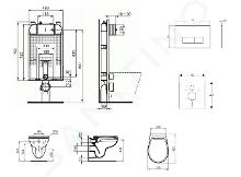 Ideal Standard ProSys - Set - Vorwandelement, Klosett und WC-Sitz Eurovit, Betätigungsplatte Oleas M2, Rimless, SoftClose, chrom matt ProSys80M SP122