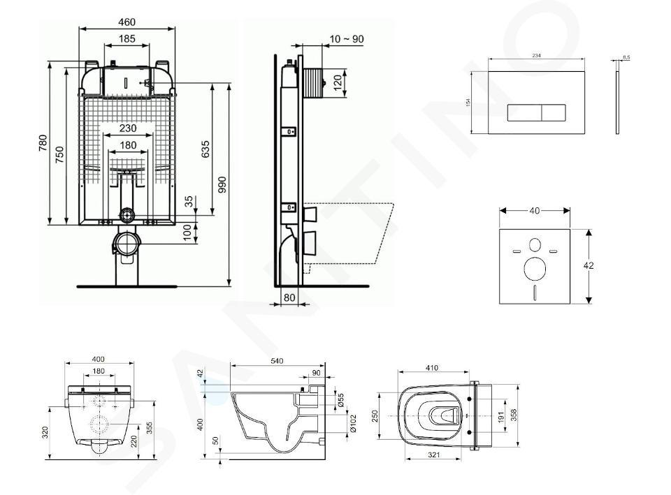 Ideal Standard ProSys - Set - Vorwandelement, Dusch-WC und WC-Sitz TECEone, Betätigungsplatte Oleas M2, Rimless, SoftClose, weiß ProSys80M SP127