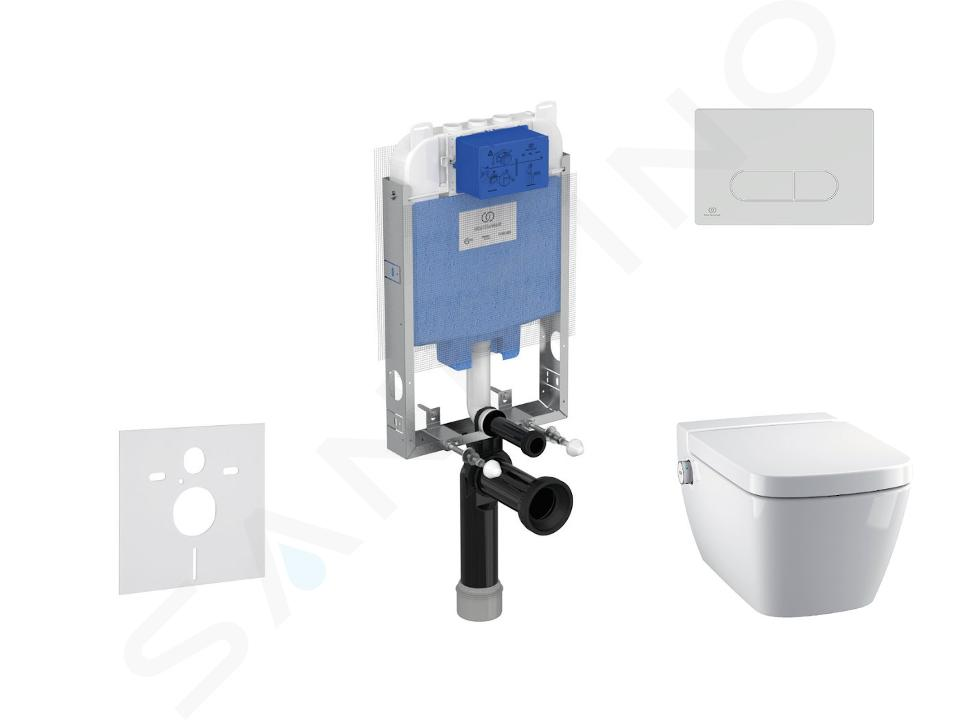 Ideal Standard ProSys - Toiletset- inbouwreservoir, douche-WC, WC-zitting TECEone, Oleas M1 bedieningsplaat, Rimless, SoftClose, wit ProSys80M SP130
