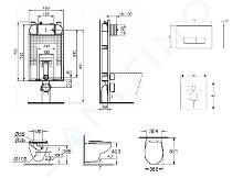 Ideal Standard ProSys - Set - Vorwandelement, Klosett und WC-Sitz Bau Ceramic, Betätigungsplatte Oleas M2, Rimless, SoftClose, weiß ProSys80M SP133