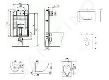 Ideal Standard ProSys - Set - Vorwandelement, Klosett und WC-Sitz Mio, Betätigungsplatte Oleas M1, Rimless, SoftClose, Antibak, chrom matt ProSys80M SP142
