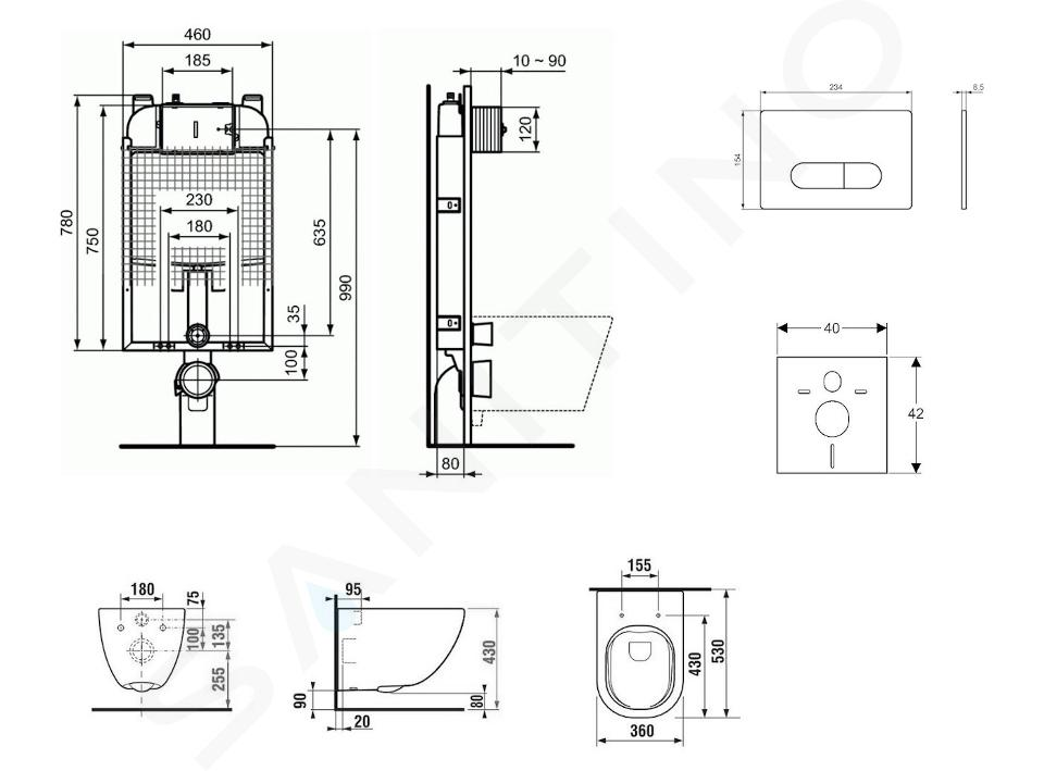 Ideal Standard ProSys - Toiletset- inbouwreservoir, closet, WC-zitting Mio, Oleas M1 bedieningsplaat, Rimless, Slowclose, Antibak, wit ProSys80M SP142