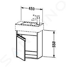 Duravit Ketho - Wastafel onderkast 550x450x225 mm, links, glanzend wit KT6629L2222