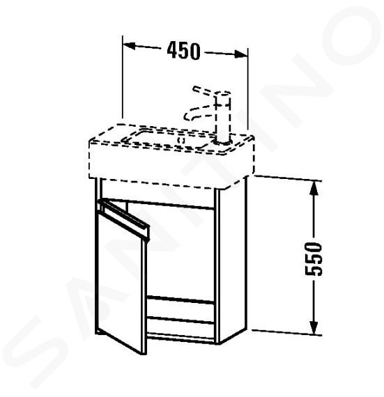 Duravit Ketho - Waschtischunterschrank 550x450x225 mm, rechts, Weiß glänzend KT6629R2222