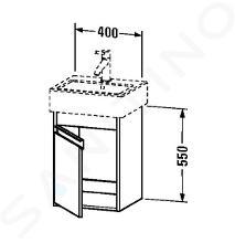 Duravit Ketho - Wastafel onderkast 550x400x320 mm, rechts, glanzend wit KT6630R2222
