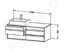 Duravit Ketho - Wastafelonderkast 496x1400x550 mm, links, 4 laden, glanzend wit KT6657L2222