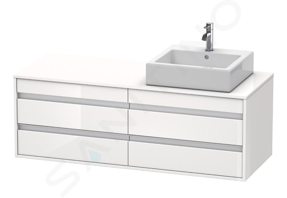 Duravit Ketho - Waschtischunterschrank 496x1400x550 mm, rechts, mit 4 Aufzügen, weiß glänzend KT6657R2222