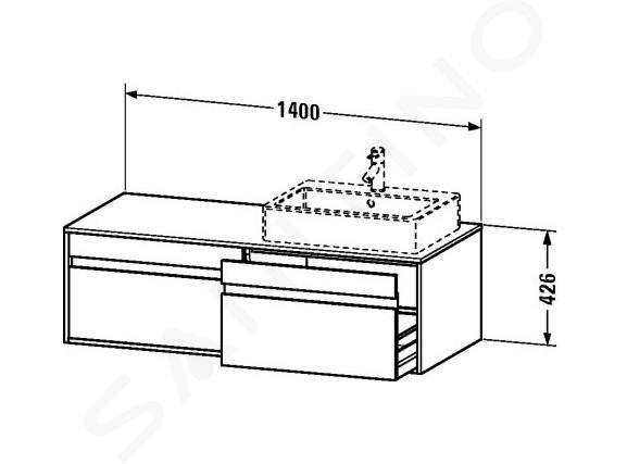 Duravit Ketho - Waschtischunterschrank 426x1400x550 mm, links, mit 2 Aufzügen, weiß glänzend KT6697L2222