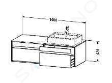 Duravit Ketho - Wastafelonderkast 426x1400x550 mm, rechts, 2 laden, glanzend wit KT6697R2222