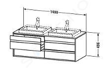 Duravit Ketho - Wastafelonderkast 496x1400x550 mm, rechts, 4 laden, glanzend wit KT6757R2222