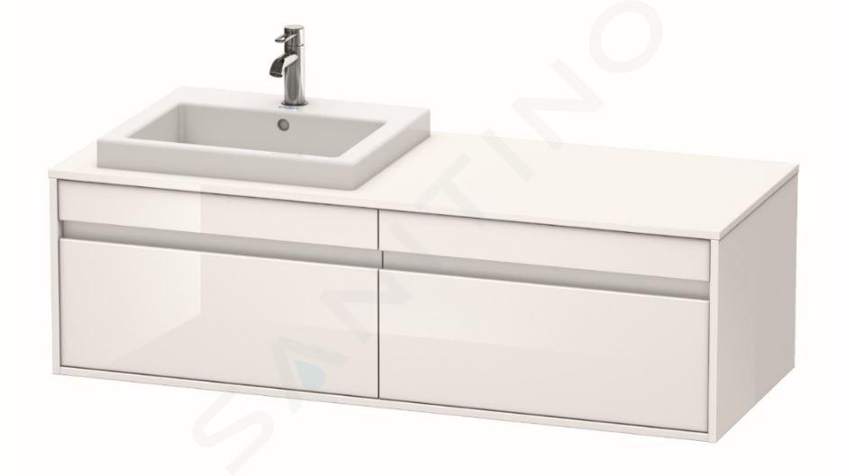 Duravit Ketho - Wastafelonderkast 426x1400x550 mm, links, 2 laden, glanzend wit KT6797L2222
