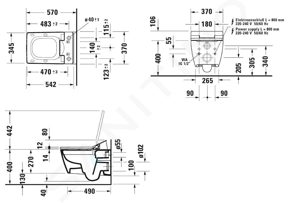 Duravit Viu - WC suspendu pour abattant de bidet SensoWash, Rimless, DuraFix, blanc alpin 2511590000