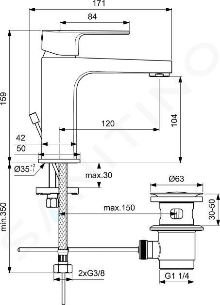 Ideal Standard Cerafine D - Miscelatore da lavabo, con sistema di scarico, cromo BC686AA