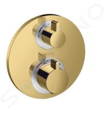 Hansgrohe Ecostat S - Termostatická baterie pod omítku pro 2 spotřebiče, leštěný vzhled zlata 15758990