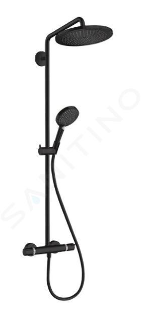 Hansgrohe Croma Select S - Sprchový set Showerpipe 280 s termostatom, EcoSmart, matná čierna 26891670
