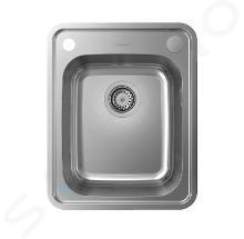 Hansgrohe Abwäschen - Granit-Einbauspülbecken S412-F340 mit automatischer Ablaufgarnitur, Edelstahl 43334800